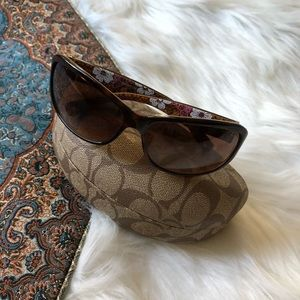 coach sarah floral ombre sunglasses tortoishell